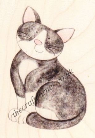 Black & White Cat Paper Nation Wooden Rubber Stamp